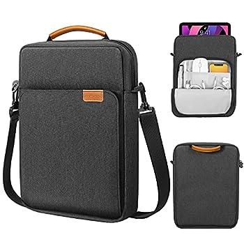 MoKo 9-11 Inch Tablet Sleeve Bag Handle Carrying Case with Shoulder Strap Fits iPad Pro 11 2021/2020/2018 iPad 8th 7th Generation 10.2 iPad Air 4 10.9 iPad 9.7 Galaxy Tab A 10.1 Black & Gray