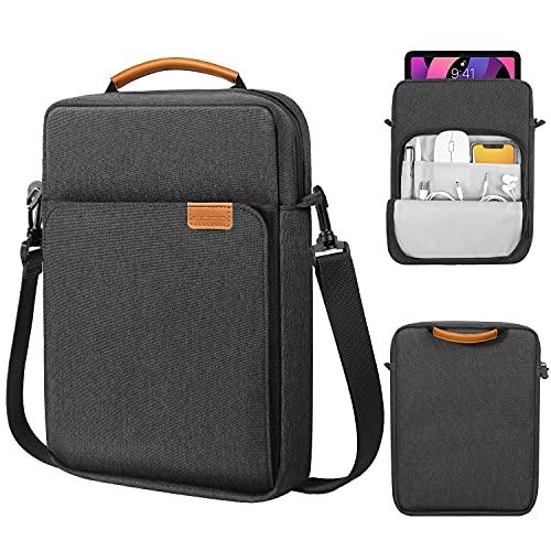MoKo 9-11 Inch Tablet Sleeve Bag Handle Carrying Case with Shoulder Strap Fits iPad Pro 11 2021/2020/2018, iPad 8th 7th Generation 10.2, iPad Air 4 10.9, iPad 9.7, Galaxy Tab A 10.1, Black & Gray
