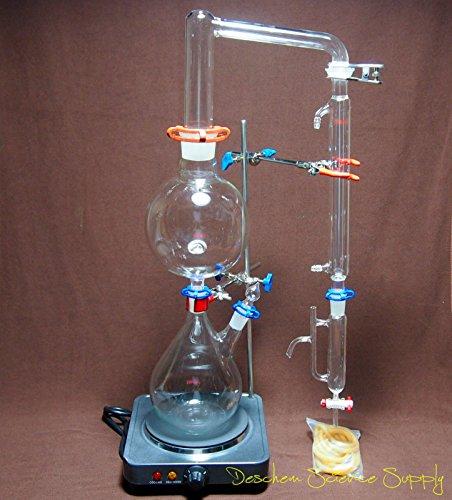 Essential Oil Steam Distillation Apparatus,Lab Distillation Kit,W/Simple Stands