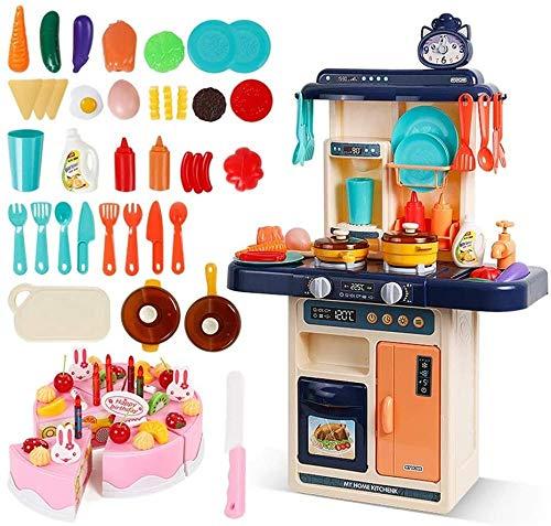Abcoll Juego de Juguetes de Cocina Juego de Cocina de Juguete Happy Little Chef Accesorios de Cocina de Juguete Ligero con Agua circulante (Juego de 77 Piezas (Color: Rojo)-Azul