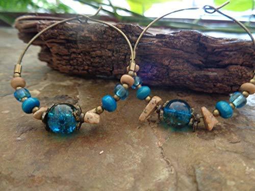 ❁ TÜRKIS BLAUE BRONZE GLAS LANDSCHAFTSJASPIS KOKOS HOLZ CREOLEN ❁ einmalige Materialmix OHRRINGE in türkis blau beige braun bronze aus Naturmaterialien, Crackle Glas, Stein