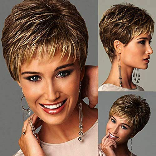 Synthetic Blend Wigs Natural Short Wigs for Womene Human Hair Wig Breathable Wig Cap (MZ-6635)