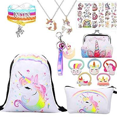 Regalos de unicornio para niñas, paquete de 5 unidades, mochila con cordón de unicornio, bolsa de maquillaje, colgante para collar, pulsera, anillo de unicornio Tipo 34. One_Size