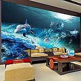 Papel Pintado Impermeable Personalizado 3D Mundo Submarino Delfín Foto Mural De Pared Habitación De Niños Decoración De Acuario Pegatina 3D