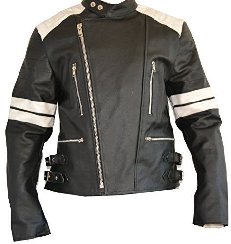 SGI-BIKE Old School Lederjacke, Motorradjacke Bikerjacke Leder Jacke 5X Protektoren NEU (L, Schwarz-Weiß)
