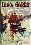 LaJiTong Decoracion Pared Cuadro Vintage Italia Lago de Garda Italiano Viajes Turismo Arte película impresión Cartel decoración de la Pared del hogar 60x90cm