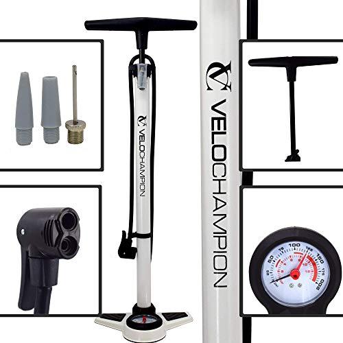 VeloChampion 200 PSI Pro Fahrrad Schaltung Hochdruck-Standpumpe Grosse Kapazität - Manometer und Duokopf für alle Ventilarten Presta Schrader (Weiß)
