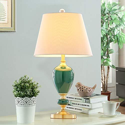 Östlichen Keramik Tischlampe,Nachttischlampe Mit Fabric Shade Und Metallbasis,E27 Wohnzimmer Schlafzimmer Dekorierte Schreibtischlampe B-dunkelgrün Tastenschalter
