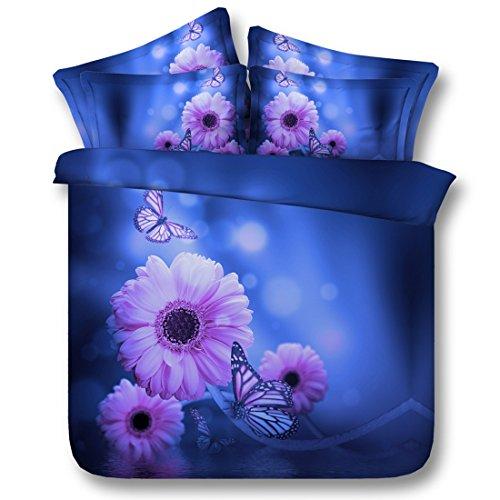 Housse de Couette et taies d'oreiller Set 3D Purple Rhyme Butterfly Pattern Housse de Couette Double Bedding Set, 150 * 200