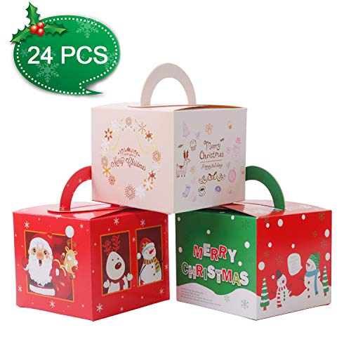 Gospire 24 Pieces Boxes Candy Boxes Party Favor Christmas Eve Box Xmas Party Bags Gift 3 Cute Styles