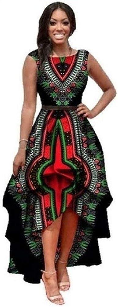 Yeshire Womens African Print Sleeveless High Low Dashik Formal Prom Peplum Flare Midi Party Dress