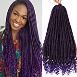 6 Packs Purple Goddess Faux Locs Hair Straight Goddess Locs Crochet Hair With Curly Ends 18 Inch Synthetic Braiding Hair Extensions Straight Crochet Hair for Black Women Twist Braids Hair (6 Packs)