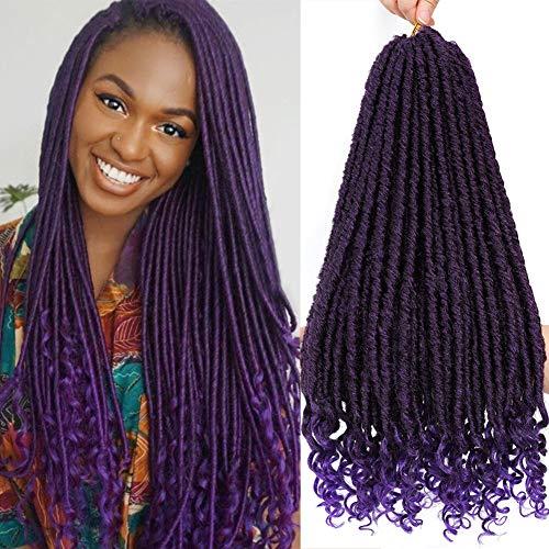 6 Packs Purple Goddess Faux Locs Hair Straight Goddess Locs Crochet Hair With Curly Ends 18 Inch Synthetic Braiding Hair Extensions Straight Crochet Hair for Black Women Twist Braids Hair (6 Packs)