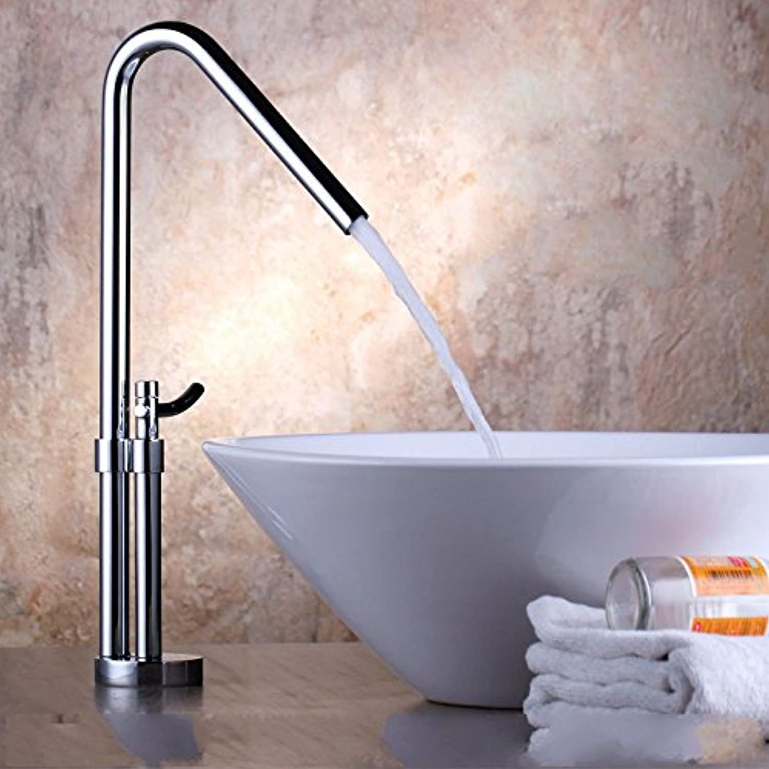 AQMMi Basin Taps Bathroom Sink Faucet Chrome Hot and Cold Water Single Lever Bathroom Sink Faucet Basin Mixer Tap