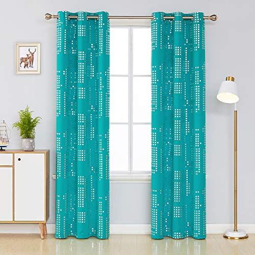 Deconovo Thermal Insulated Bedroom Blackout Curtains Square Print Noise Reducing Draperies Grommet Window Treatment Panels for Living Room, 38x84 Inch, Turquoise