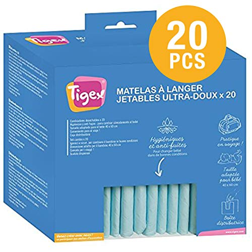 Tigex Protections Jetables pour Matelas à Langer, Blanc/Bleu, Lot de 20