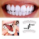 MTHDD Denti in Silicone Smile Bianchi per Un Sorriso Perfetto Dentiera Copri-Denti Superiore E Inferiore Uso Quotidiano Cosmetica