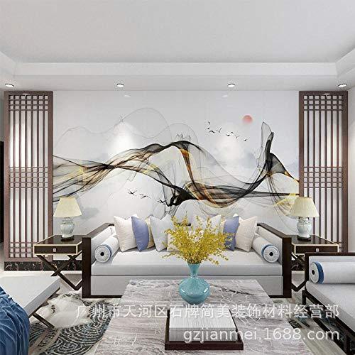 Nueva pintura decorativa china sala de estar sofá fondo pintura de pared atmósfera luz lujo concepción artística abstracta pintura de paisaje papel tapiz revestimiento de paredes-140cmx100cm