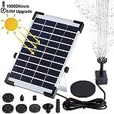 Minear Bomba de Fuente Solar Fuente de Fuente Solar para pájaros 5W Kit de Panel Solar Kit de Bomba de Agua Solar Flotante con 6 boquillas para Estanque de Piscina Acuario de jardín