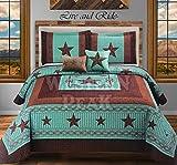 Western Peak 5 Pc Western Texas Cross Lodge Barbed Wire Quilt Bedspread Shams Pillow Oversize Comforter (Turquoise Star Gun, Queen)