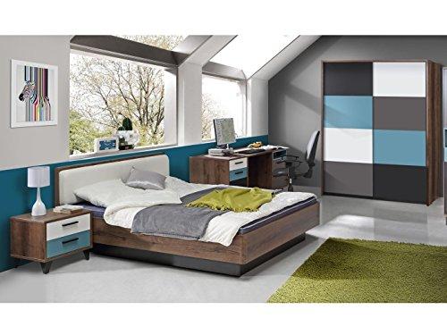möbel-direkt Jugendzimmer Raven 4tlg. 140er Bett mit Schwebetürenschrank