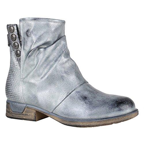 Damen Biker Boots Zipper Stiefeletten Schnallen Lederimitat Schuhe 148782 Silber Glanz 40 Flandell