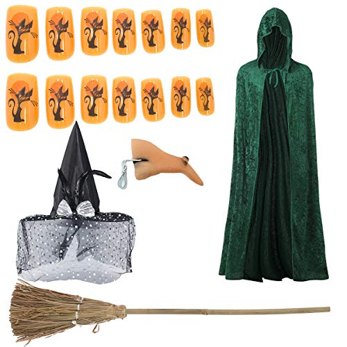 Carnavalife, Disfraz Completo de Bruja para Fiesta de Halloween. Incluye Kit de Bruja. Fiesta de Disfraces de Miedo. Color Verde. Tamaño: 140 cm.
