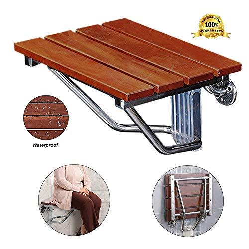 AKQ Duschsitz Klappbar Wandmontage Duschstuhl Holz Duschhocker rutschfest Badewannensitz für Erwachsene und Senioren, Bis 250 kg Belastbar