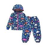 LZH Boys Girls Waterproof Raincoat Hooded Jacket Dinosaur Coat Trousers Suit, Blue, 2-3 Years