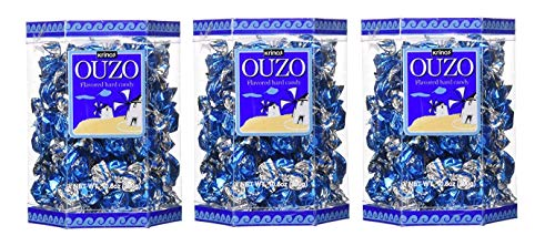 Krinos Ouzo Candy - Greek Favorite - Licorice Flavored Treat - Delicious Hard Candy - all Natural Flavors - Contains No Alcohol and No Gluten - Perfect for Parties, Party Favors 3 pack