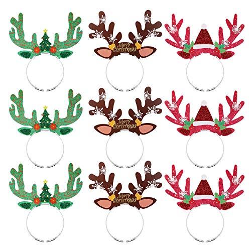 BESTOYARD 9 stücke Weihnachten Rentiergeweih Stirnband Haarbänder für Erwachsene Kinder Gastgeschenke Liefert Dekorationen