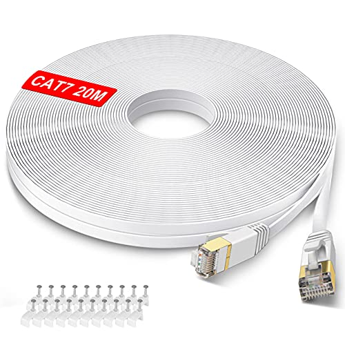 GLCON – 20m CAT 7 LAN Kabel 20meter Netzwerkkabel Hochgeschwindigkeits 10Gbit/s Gigabit Ethernet Kabel Cat.5e Cat.6 Cat.7 RJ45 Internet Patchkabel für PC PS5/PS4 Xbox Switch Modem Weiß