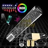 JDMBESTBOY LED Light RGB Shift Knob Stick Crystal Transparent Bubble Gear Shifter 20cm