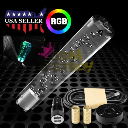 JDMBESTBOY LED Light RGB Shift Knob Stick Crystal Transparent Bubble Gear Shifter 20cm