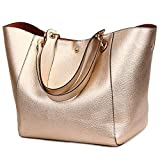 Tote Bags for Women's Shoulder Satchel Handbags Large Leather Bucket Bags (Rose gold)