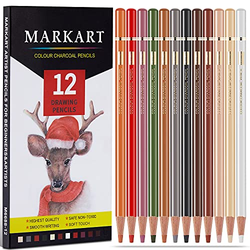 Professional Charcoal Pencils Drawing Set - MARKART 12 Colors Colour Charcoal Pencils, Skin Tone Colored Pencils, Artist's Soft Pastel Pencils For Sketching, Shading, Layering & Blending