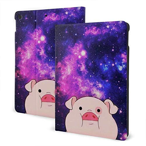 Galaxy Pig IPad 7th 10.2' Generation Case Case Slim Stand Hard Back Shell Protective Smart Cover Case PU Leather Multi-Angle Folio