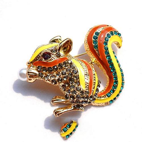 Fashion Ornament Mädchenschmuck, Eichhörnchen-Brosche, goldfarben, Strass, Giraffe, Legierung, gemischte Farben, Brustnadel, Dame, Perlenbekleidung, Goldfarben, mehrfarbig
