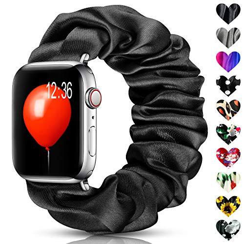 Jiamus Scrunchie Armbands Kompatibel mit Apple Watch Band 38mm 40mm 42mm 44mm, Iwatch Stoff Weiches Muster Bedrucktes Sport Ersatz Armbänder Damen,Herren für Iwatch Serie 5/4/3/2/1.