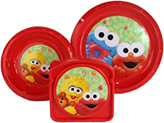 Sesame Beginnings 3pc Dining Set for kids - Includes Red Bowl, Plate, and Sandwich Container featuring Elmo, Cookie Monster, and Big Bird