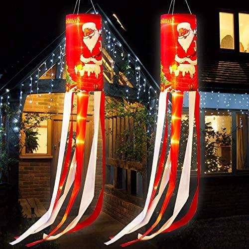 Weihnachten Windsack Flaggen Weihnachtsmann Winter Wetterfahne mit Warmweißen LED Lichtern, Weihnachten Outdoor Hängendes Dekor für Hof Garten Terrasse Weg Party Dekoration (2)