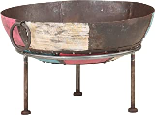vidaXL Colourful Rustic Fire Pit Iron Garden Camping Furnace Patio Heater Bowl Fire Bowl Burner Camping Stove Cooking Fire...