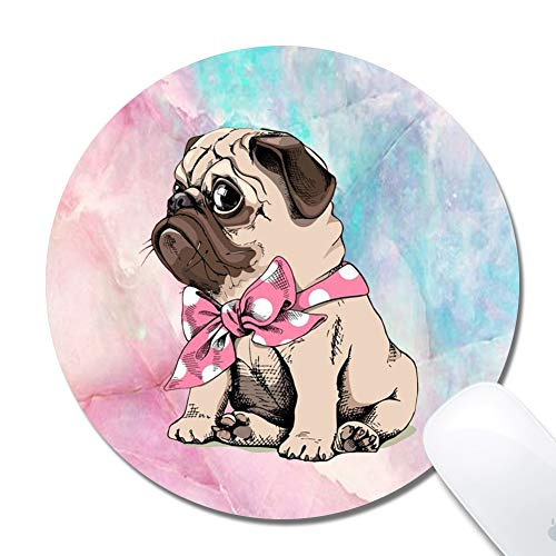 Mouse Pad with Stitched Edges,Pink Pug Customized Design Extended Gaming Mouse Pad Anti-Slip Rubber Base Ergonomic Mouse Pad for Computer -Black Round 200x3mm