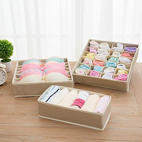 Queta 3er Aufbewahrungsbox Set Stoff Kleiderschrank Schubladen Organizer Ordnungssystem Wäsche Sortiersystem Schrank Organizer Boxen Ordnungsbox Unterwäsche BH Dessous Socken Unterhosen