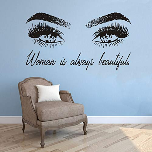 Ajcwhml Mädchen Wimpern Vinyl Wandaufkleber Wandbild bilden Aufkleber Frau schöne Zitat Kunst Aufkleber Schlafzimmer Dekoration Augenbrauen Raumdekoration