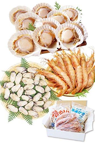 海鮮 詰め合せ 3種 セット 片貝 ほたて 10枚・赤 えび 10尾・ かき 1キロ【冷凍】 バーベキューセット 海鮮セット bbq バーベキュー ホタテ 越前宝や