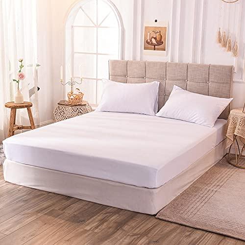 CYYyang Protector de colchón de bambú Funda de colchón y Ajustable Sábana de Cama de Color Puro de una Sola Pieza a Prueba de Polvo blanqueada_160x200x30cm