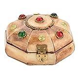 Organizador de joyero de estilo étnico tibetano, caja clásica, collar, pulsera, anillo, caja de presentación de poliuretano, contenedor de cierre de 3,9 × 2,4 pulgadas (L).
