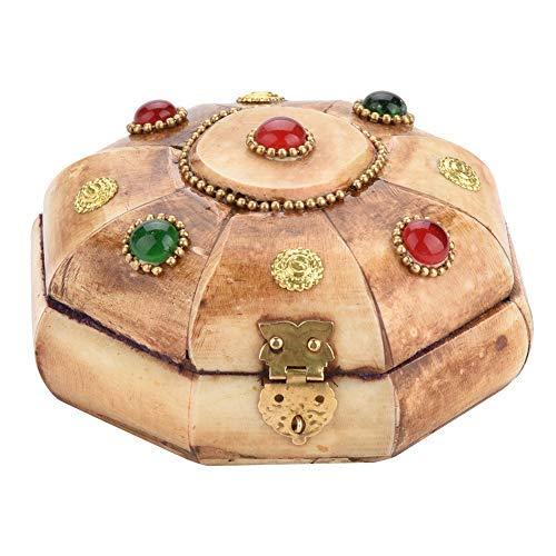 Aufbewahrungsbox für Schmuck, tibetischer Ethno-Stil, klassische Box, Halskette, Armband, Ring, Präsentationsbox aus PU, abschließbarer Behälter mit 3,9 x 2,4 Zoll (L)