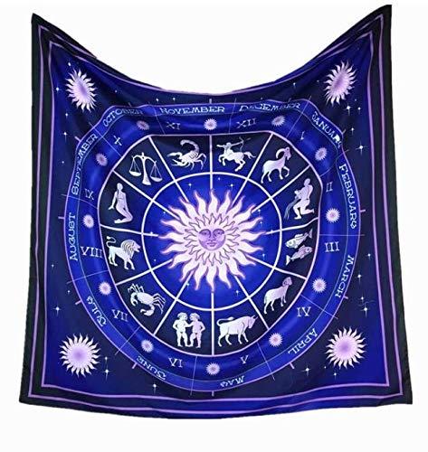 DJSK Horoscope Bleu Tapisserie Astrologie Indienne Hippie Tenture Murale Art Décoratif Ethnique Tapisserie du Zodiaque 150 * 130 cm
